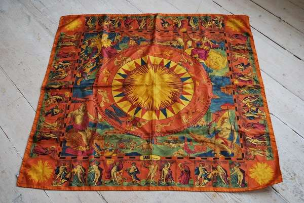 Original 1970s DAKS SIGN OF THE ZODIAC Large 100% Silk Scarf