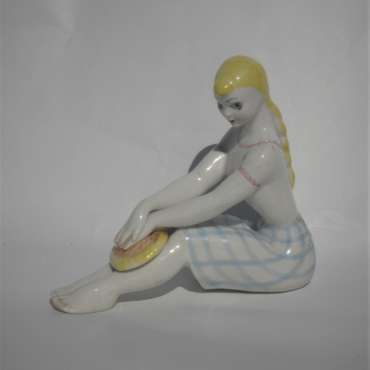 1960s Ukranian Seated Girl Figure